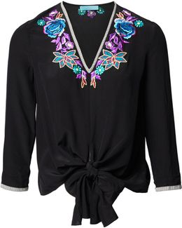 Black Floral Embroidered Silk Tie Top