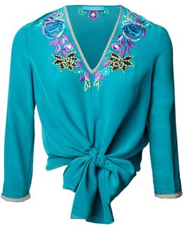 Blue Floral Embroidered Silk Tie Top