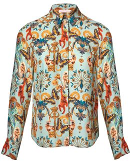 Regal Monkey Mint Silk Shirt