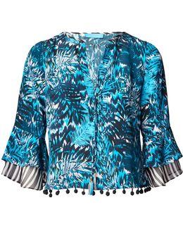 Tiger Palm Blue Silk Top