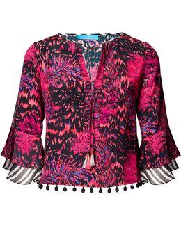 Tiger Palm Pink Silk Top