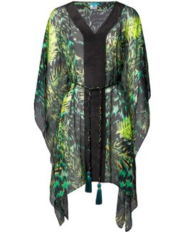 Tiger Palm Emerald Silk Kaftan
