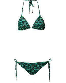 Tiger Palm Green Triangle Bikini