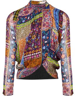 Belvoir Tapestry Silk Wrap Over Blouse