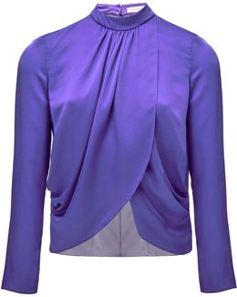 Violet Silk Wrap Over Blouse