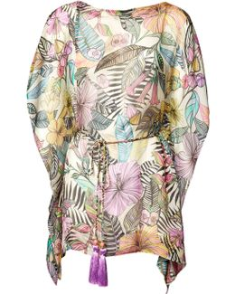 Pink Kantuta Valley Printed Silk Kaftan