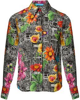 Botanical Tiwanaku Black Silk Shirt