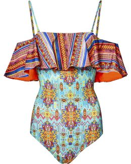Inca Jewel Off-the-shoulder Ruffle Swimsuit