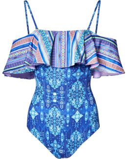 Blue Inca Jewel Off-the-shoulder Ruffle Swimsuit
