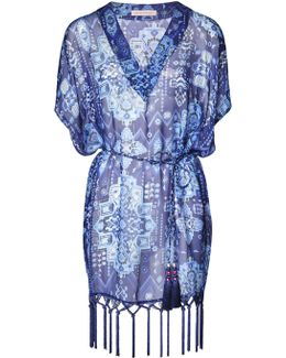 Blue Inca Jewel Fringed Silk Kaftan