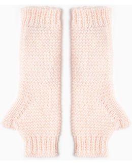 Laminated Knit Fingerless Gloves