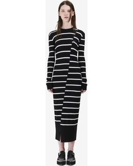 Distorted Stripe Dress