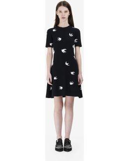 Allover Mini Swallow Skater Dress