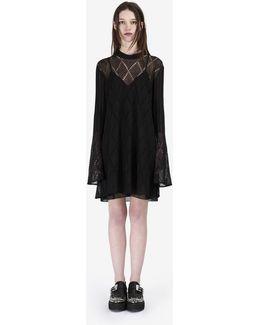 Lace Stripe Flared Dress