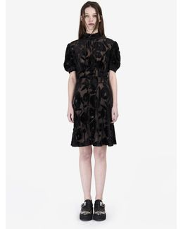 Short Dévoré Dress With Gathered Sleeves