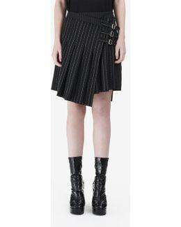 Wrap Kilt Pinstripe Skirt
