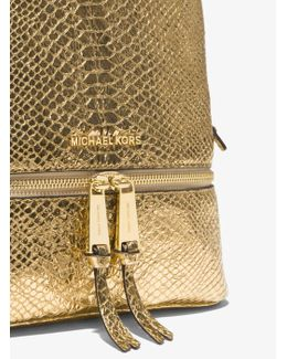 Rhea Medium Metallic Embossed-leather Backpack