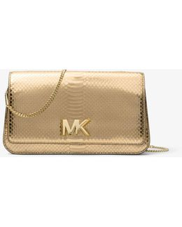 Mott Large Metallic Embossed-leather Clutch
