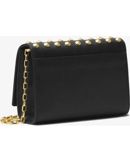 Yasmeen Studded French Calf Leather Clutch