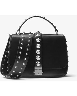 Mia Studded French Calf Shoulder Satchel