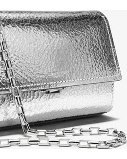 Yasmeen Small Crackled Metallic Leather Clutch