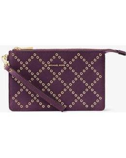 Daniela Grommeted Leather Wristlet