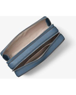 Jet Set Travel Leather Cosmetic Pouch
