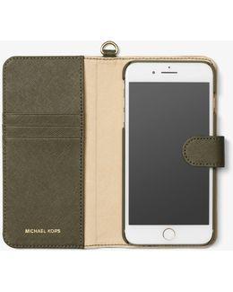 Saffiano Leather Folio Phone Case For Iphone 7 Plus