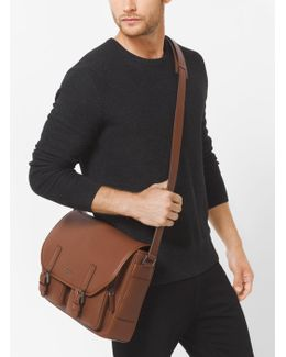 Bryant Leather Cargo-pocket Messenger Bag