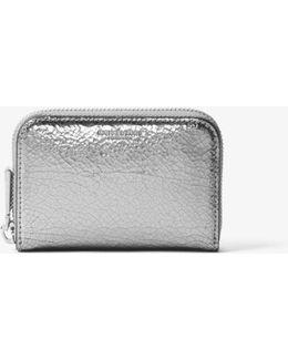 Miranda Crackled Metallic Leather Card Holder