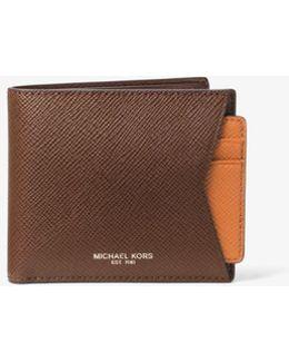 Cross-grain Leather Billfold Wallet And Card Case Set