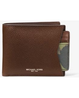 Painterly Camo Leather Billfold Wallet And Card Case Set