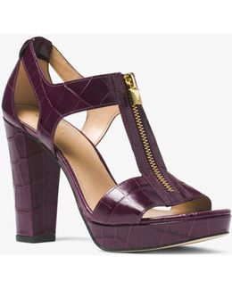 Berkley Embossed-leather Platform Sandal