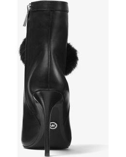 Remi Pom-pom Leather Ankle Boot