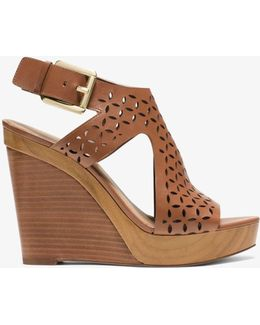 Josephine Perforated-leather Wedge