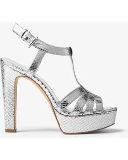 Catalina Metallic Embossed-leather Sandal