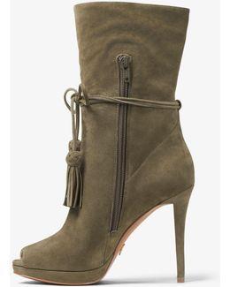 Rosalie Suede Open-toe Mid-calf Boot