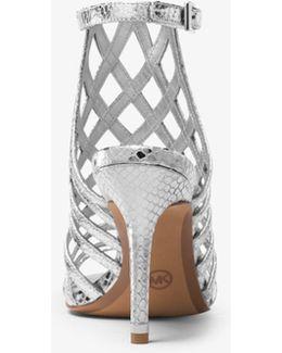 Trinity Metallic Embossed-leather Sandal