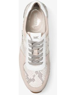 Allie Embossed-leather And Suede Sneaker