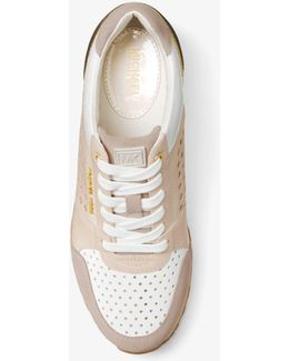 Billie Perforated Leather And Suede Trainer