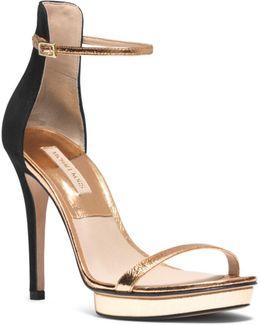 Doris Metallic Leather And Suede Sandal