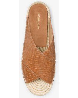 Destin Woven-leather Espadrille Slide