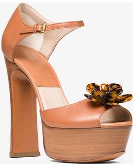 Pembrey Floral Leather Platform Sandal