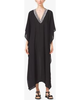 Embroidered Silk-georgette V-neck Caftan