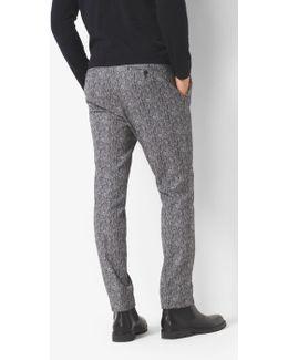 Herringbone Cotton-blend Pleated Trouser