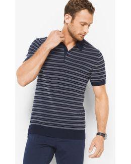 Striped Cotton Polo Sweater