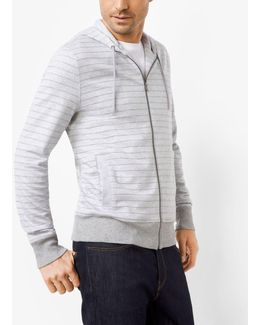 Striped Cotton Zip-up Hoodie