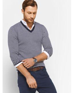 Herringbone Merino Wool V-neck Pullover