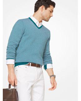 Check Cotton V-neck Pullover