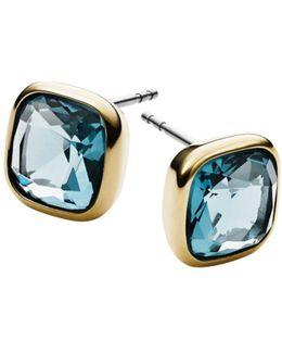 Aqua Gold-Tone Earrings